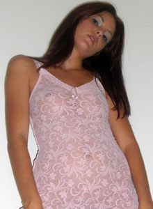 Sexy Alex Shows Off Her Amazing Tight Teen Body In An Almost Sheer Pink Nighty - Picture 3